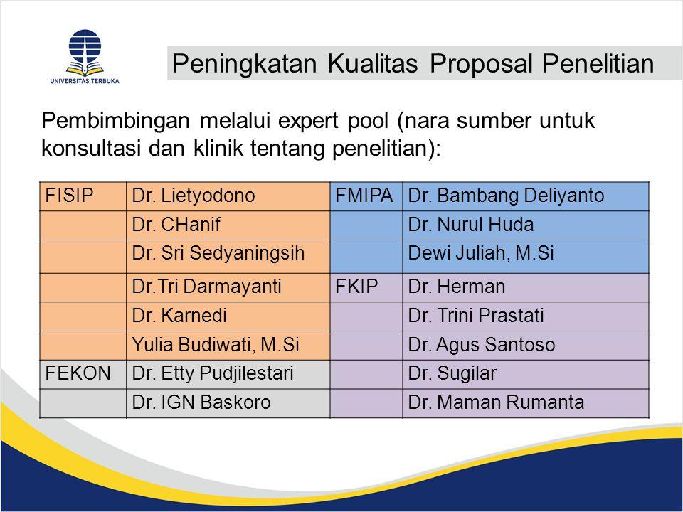 Peningkatan Kualitas Proposal Penelitian Pembimbingan melalui expert pool (nara sumber untuk konsultasi dan klinik tentang penelitian): FISIPDr.