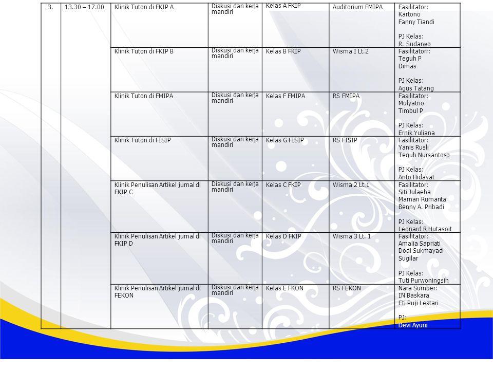 3.13.30 – 17.00Klinik Tuton di FKIP A Diskusi dan kerja mandiri Kelas A FKIP Auditorium FMIPAFasilitator: Kartono Fanny Tiandi PJ Kelas: R.