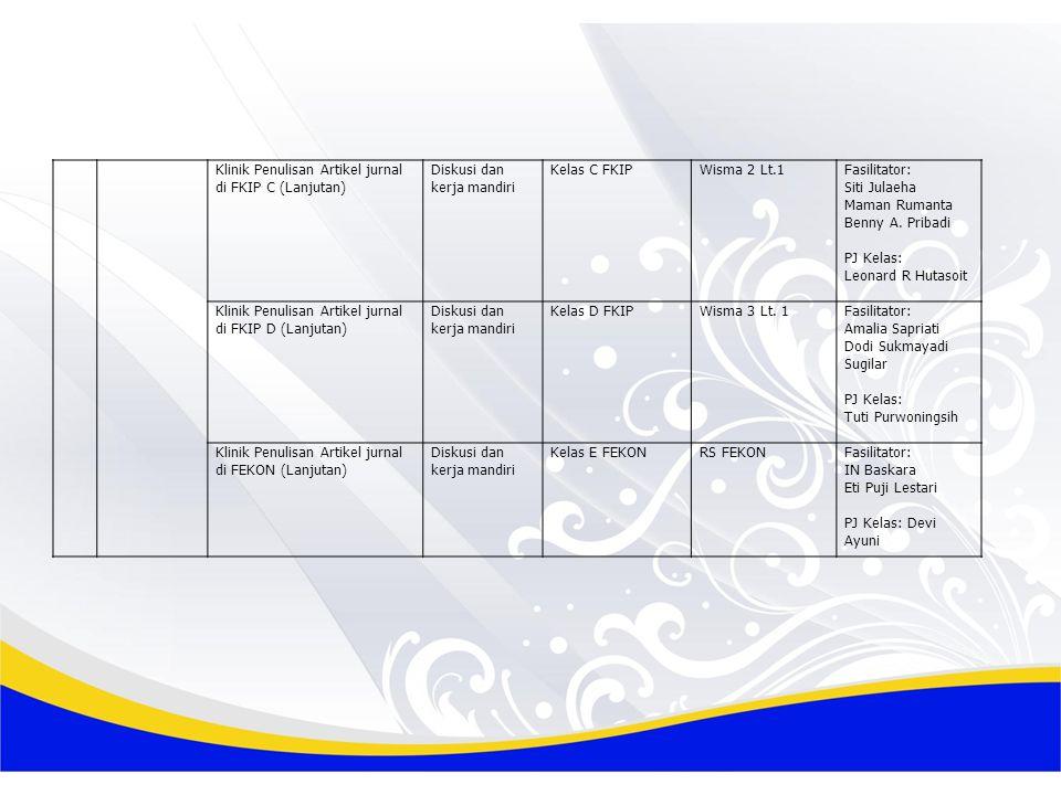 Klinik Penulisan Artikel jurnal di FKIP C (Lanjutan) Diskusi dan kerja mandiri Kelas C FKIPWisma 2 Lt.1Fasilitator: Siti Julaeha Maman Rumanta Benny A.