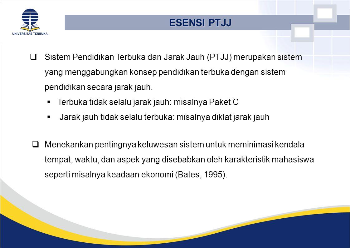  Sistem Pendidikan Terbuka dan Jarak Jauh (PTJJ) merupakan sistem yang menggabungkan konsep pendidikan terbuka dengan sistem pendidikan secara jarak jauh.