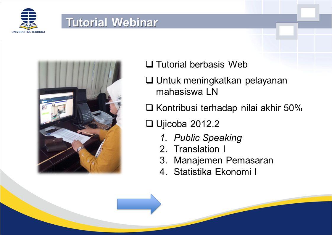  Tutorial berbasis Web  Untuk meningkatkan pelayanan mahasiswa LN  Kontribusi terhadap nilai akhir 50%  Ujicoba 2012.2 1.Public Speaking 2.Transla