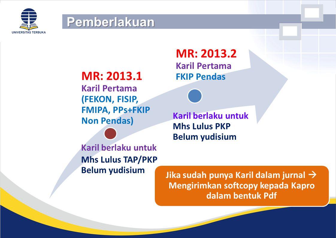 Karil berlaku untuk Mhs Lulus TAP/PKP Belum yudisium Karil berlaku untuk Mhs Lulus PKP Belum yudisium MR: 2013.1 Karil Pertama (FEKON, FISIP, FMIPA, P
