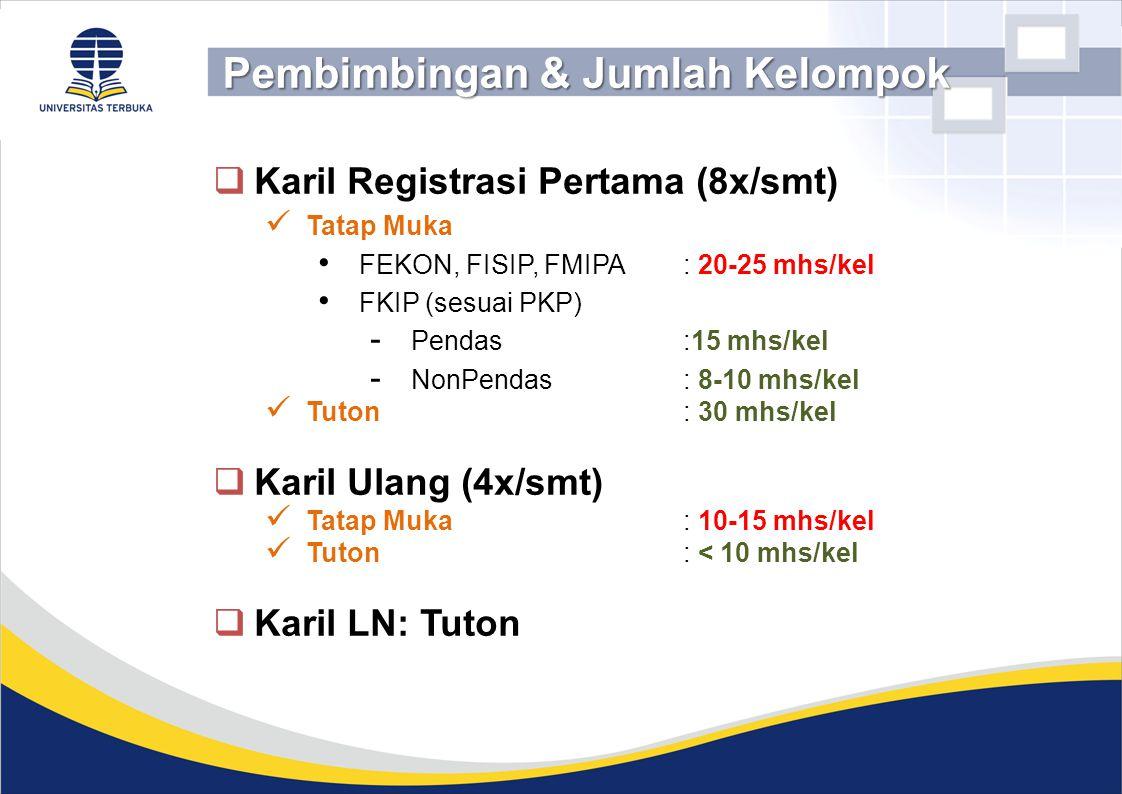  Karil Registrasi Pertama (8x/smt) Tatap Muka FEKON, FISIP, FMIPA: 20-25 mhs/kel FKIP (sesuai PKP) - Pendas :15 mhs/kel - NonPendas : 8-10 mhs/kel Tu