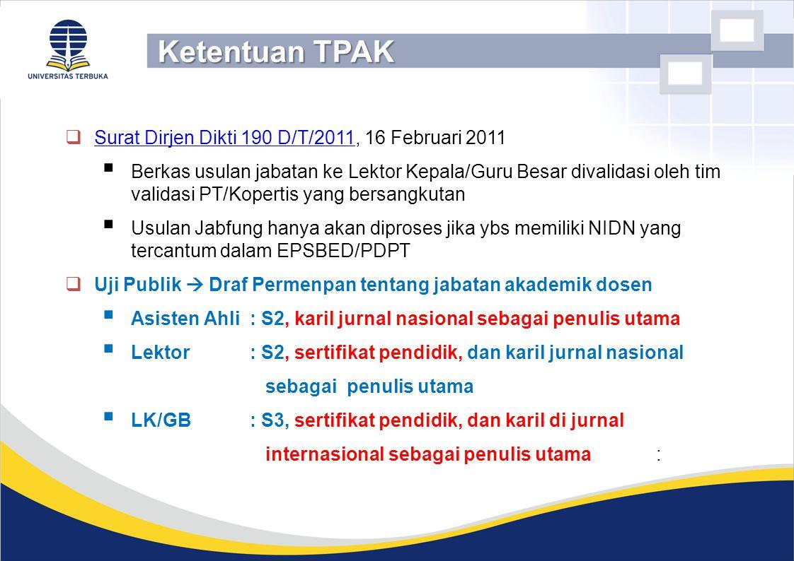 Surat Dirjen Dikti 190 D/T/2011, 16 Februari 2011 Surat Dirjen Dikti 190 D/T/2011  Berkas usulan jabatan ke Lektor Kepala/Guru Besar divalidasi ole