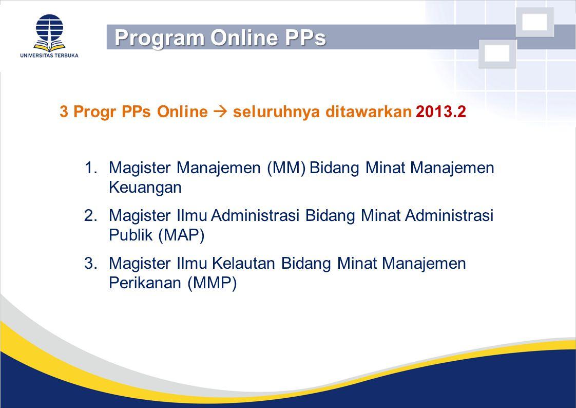 3 Progr PPs Online  seluruhnya ditawarkan 2013.2 1.Magister Manajemen (MM) Bidang Minat Manajemen Keuangan 2.Magister Ilmu Administrasi Bidang Minat