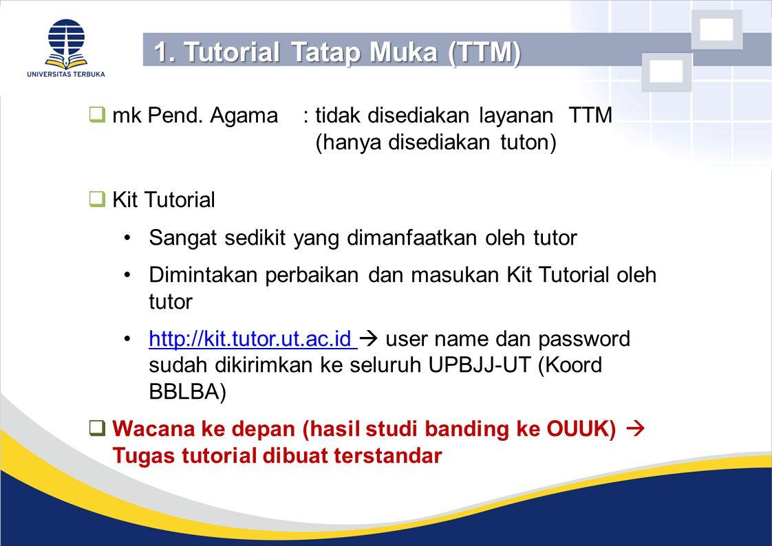  mk Pend. Agama: tidak disediakan layanan TTM (hanya disediakan tuton)  Kit Tutorial Sangat sedikit yang dimanfaatkan oleh tutor Dimintakan perbaika