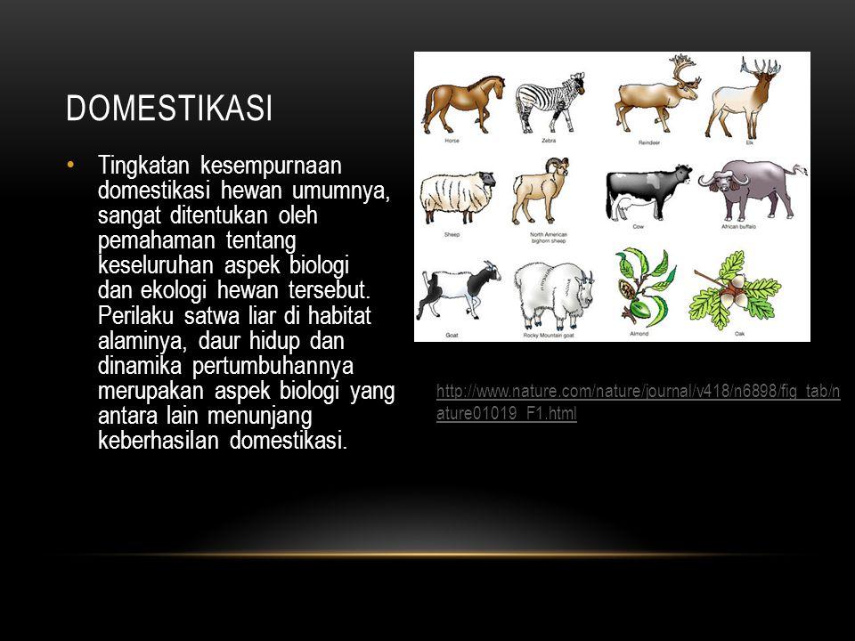 Tingkatan kesempurnaan domestikasi hewan umumnya, sangat ditentukan oleh pemahaman tentang keseluruhan aspek biologi dan ekologi hewan tersebut.