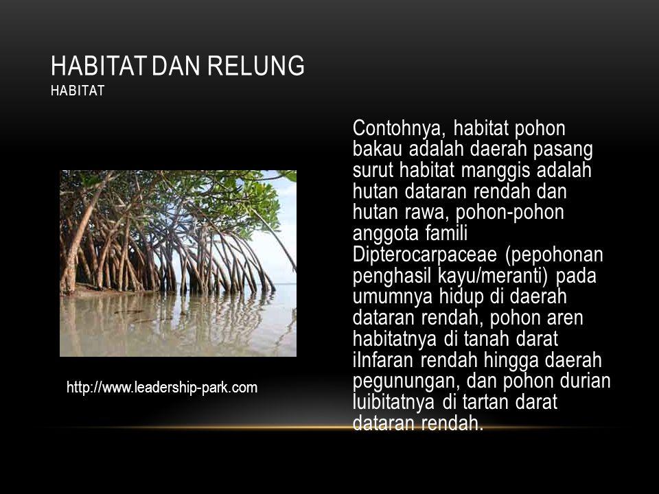 Contohnya, habitat pohon bakau adalah daerah pasang surut habitat manggis adalah hutan dataran rendah dan hutan rawa, pohon-pohon anggota famili Dipterocarpaceae (pepohonan penghasil kayu/meranti) pada umumnya hidup di daerah dataran rendah, pohon aren habitatnya di tanah darat iInfaran rendah hingga daerah pegunungan, dan pohon durian luibitatnya di tartan darat dataran rendah.