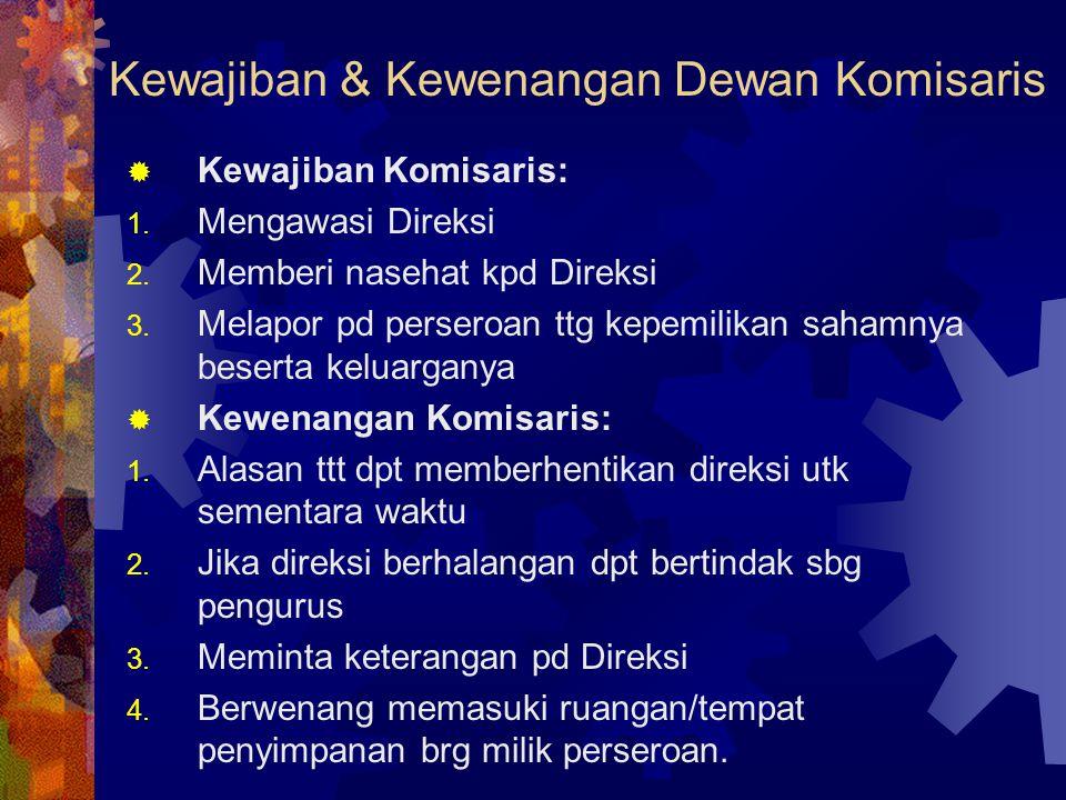Kewajiban & Kewenangan Dewan Komisaris  Kewajiban Komisaris: 1. Mengawasi Direksi 2. Memberi nasehat kpd Direksi 3. Melapor pd perseroan ttg kepemili