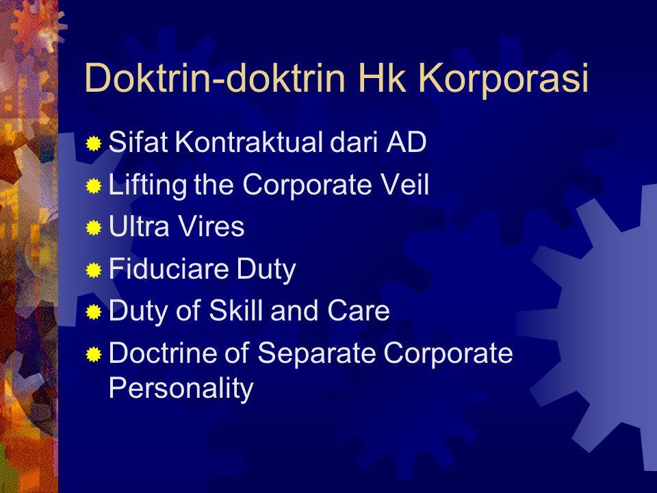 Doktrin-doktrin Hk Korporasi  Sifat Kontraktual dari AD  Lifting the Corporate Veil  Ultra Vires  Fiduciare Duty  Duty of Skill and Care  Doctri