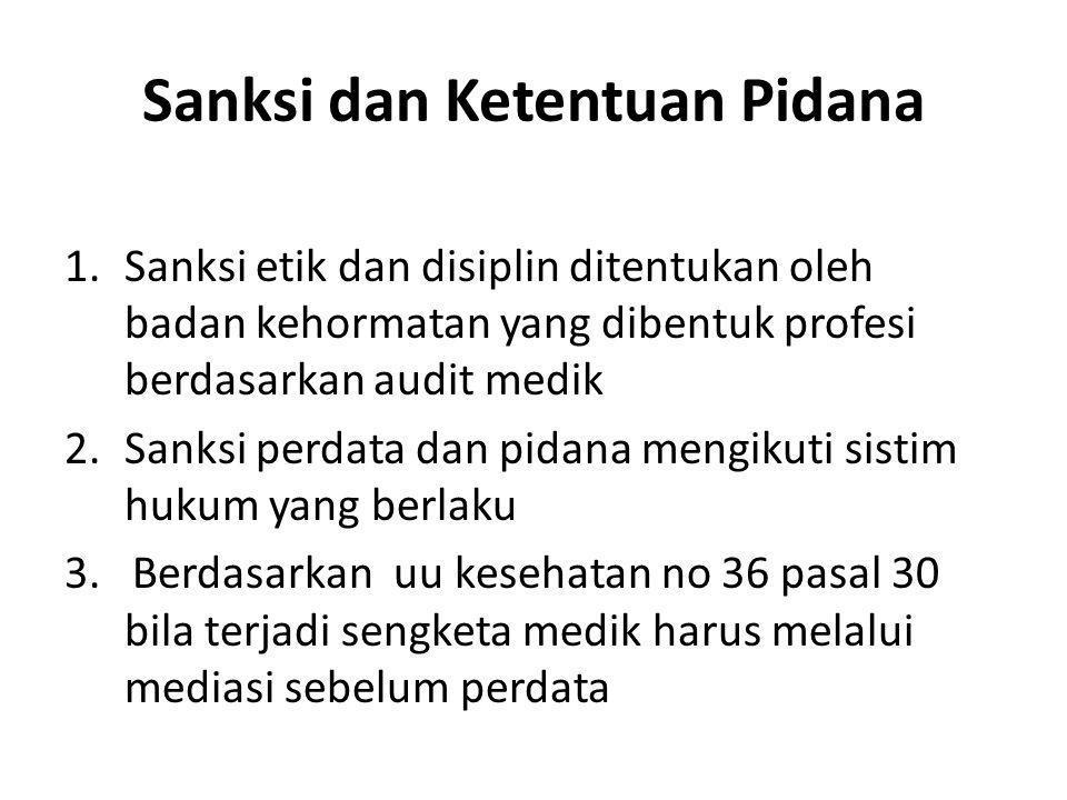 Sanksi dan Ketentuan Pidana 1.Sanksi etik dan disiplin ditentukan oleh badan kehormatan yang dibentuk profesi berdasarkan audit medik 2.Sanksi perdata