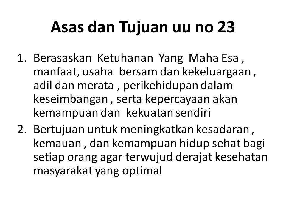 Asas dan Tujuan uu no 23 1.Berasaskan Ketuhanan Yang Maha Esa, manfaat, usaha bersam dan kekeluargaan, adil dan merata, perikehidupan dalam keseimbang