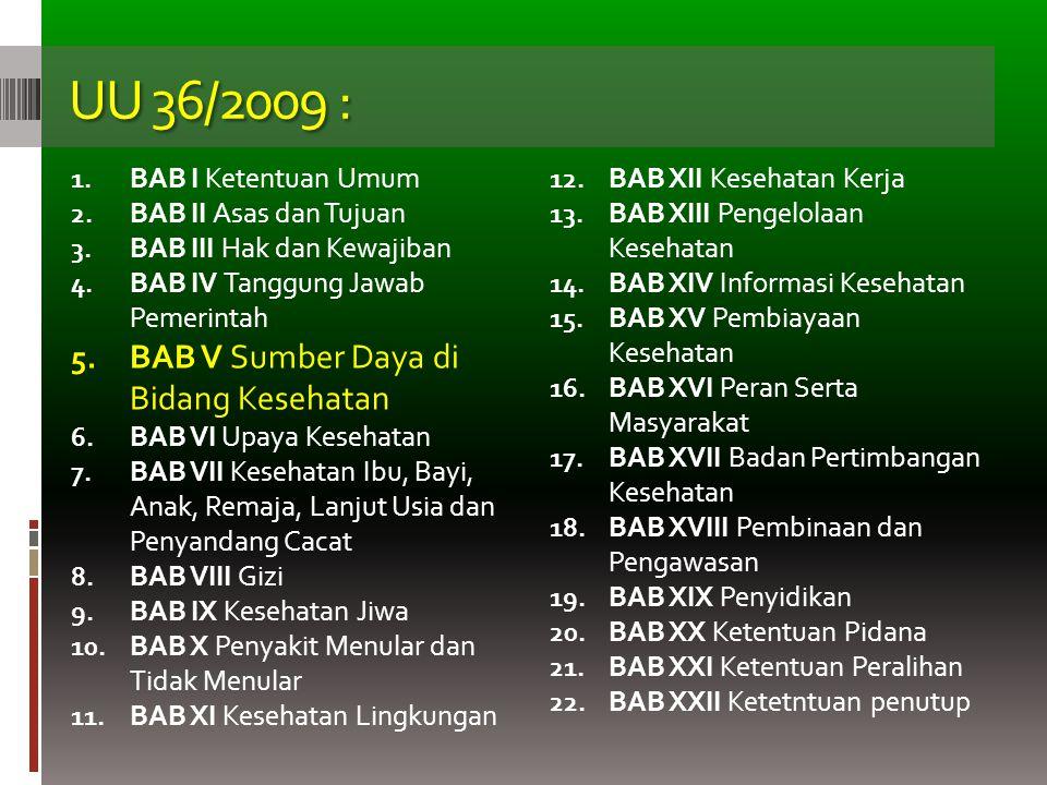 UU 36/2009 : 1. BAB I Ketentuan Umum 2. BAB II Asas dan Tujuan 3. BAB III Hak dan Kewajiban 4. BAB IV Tanggung Jawab Pemerintah 5. BAB V Sumber Daya d