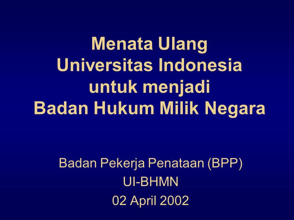 Menata Ulang Universitas Indonesia untuk menjadi Badan Hukum Milik Negara Badan Pekerja Penataan (BPP) UI-BHMN 02 April 2002
