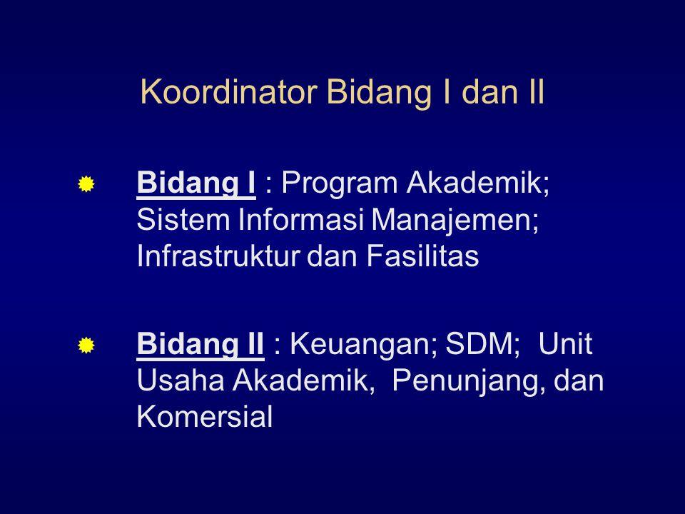 Koordinator Bidang I dan II  Bidang I : Program Akademik; Sistem Informasi Manajemen; Infrastruktur dan Fasilitas  Bidang II : Keuangan; SDM; Unit Usaha Akademik, Penunjang, dan Komersial