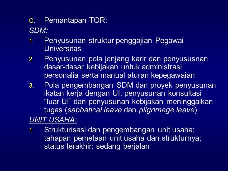 C.Pemantapan TOR: SDM: 1. Penyusunan struktur penggajian Pegawai Universitas 2.