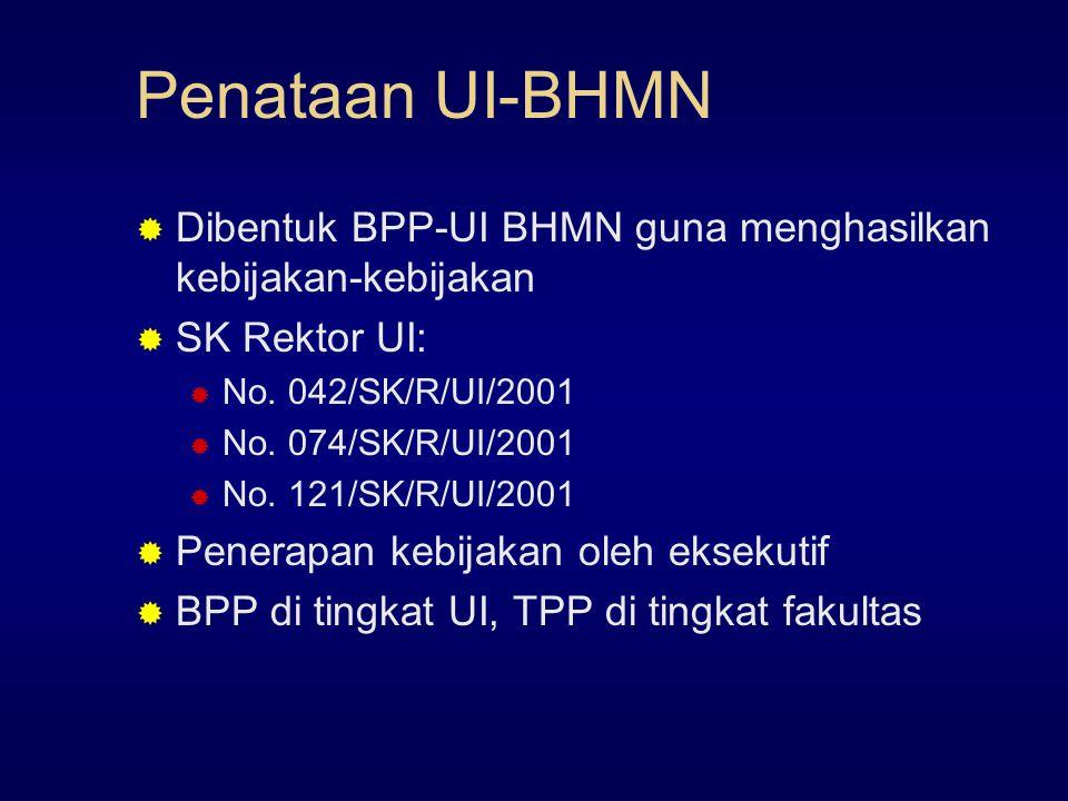 Penataan UI-BHMN  Dibentuk BPP-UI BHMN guna menghasilkan kebijakan-kebijakan  SK Rektor UI:  No.