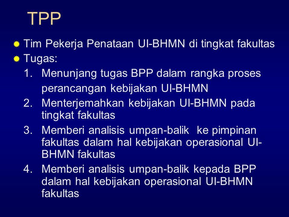 TPP  Tim Pekerja Penataan UI-BHMN di tingkat fakultas  Tugas: 1.