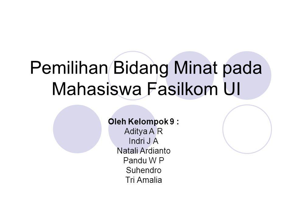 Pemilihan Bidang Minat pada Mahasiswa Fasilkom UI Oleh Kelompok 9 : Aditya A R Indri J A Natali Ardianto Pandu W P Suhendro Tri Amalia