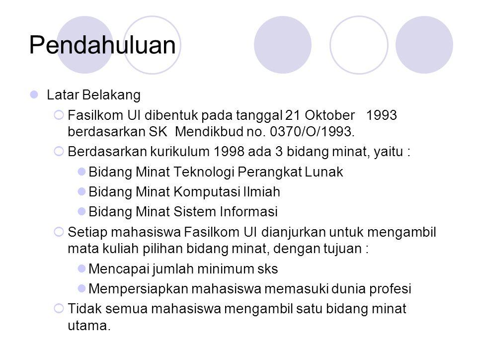 Pendahuluan Latar Belakang  Fasilkom UI dibentuk pada tanggal 21 Oktober 1993 berdasarkan SK Mendikbud no.