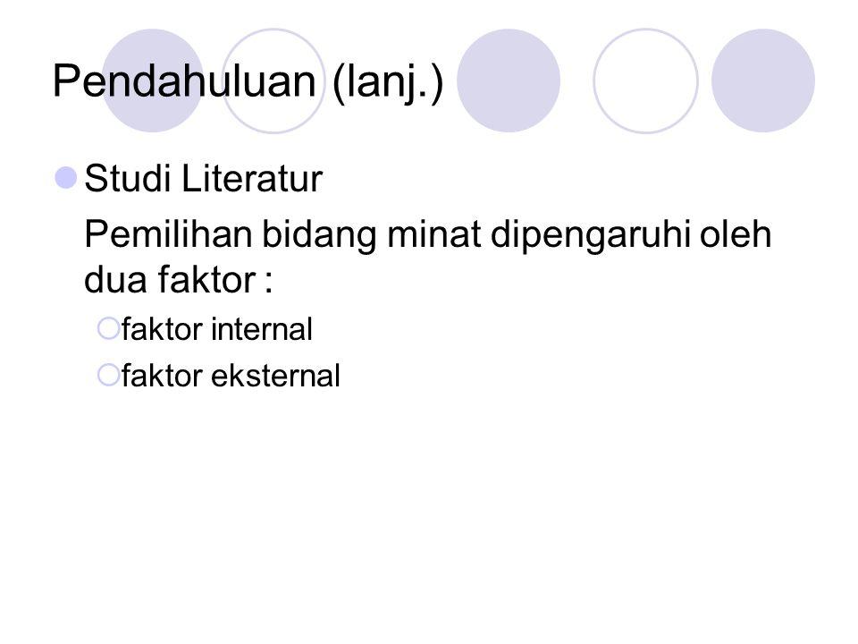 Pendahuluan (lanj.) Studi Literatur Pemilihan bidang minat dipengaruhi oleh dua faktor :  faktor internal  faktor eksternal