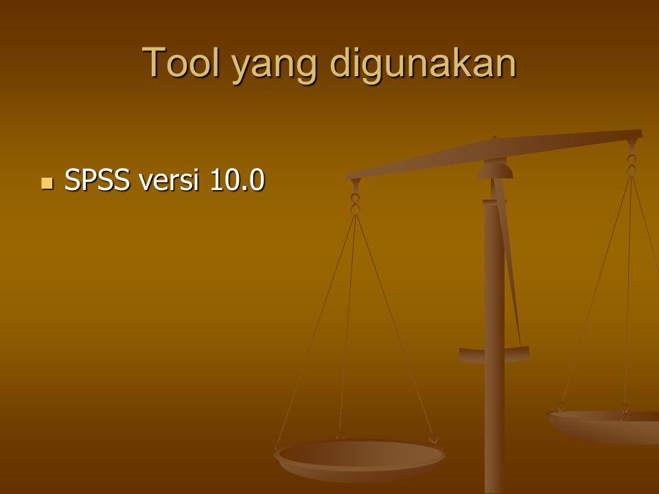 Tool yang digunakan SPSS versi 10.0 SPSS versi 10.0