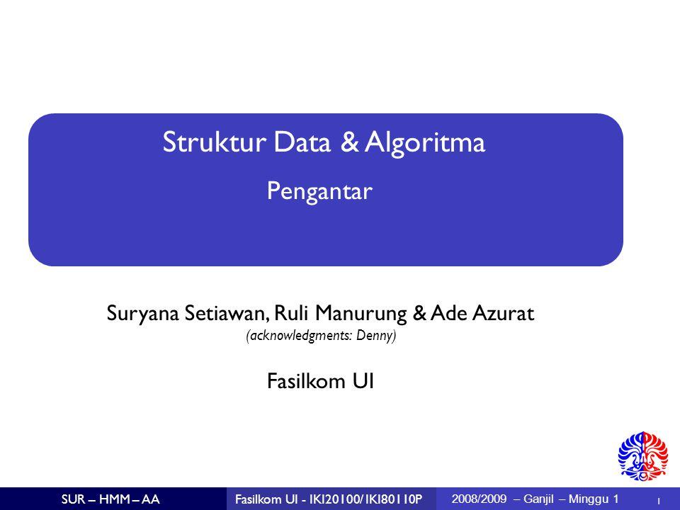 Struktur Data & Algoritma Suryana Setiawan, Ruli Manurung & Ade Azurat (acknowledgments: Denny)  1 Fasilkom UI SUR – HMM – AAFasilkom UI - IKI20100/ IKI80110P 2008/2009 – Ganjil – Minggu 1 Pengantar