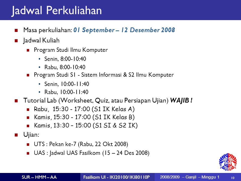 10 SUR – HMM – AAFasilkom UI - IKI20100/ IKI80110P 2008/2009 – Ganjil – Minggu 1 Jadwal Perkuliahan Masa perkuliahan: 01 September – 12 Desember 2008