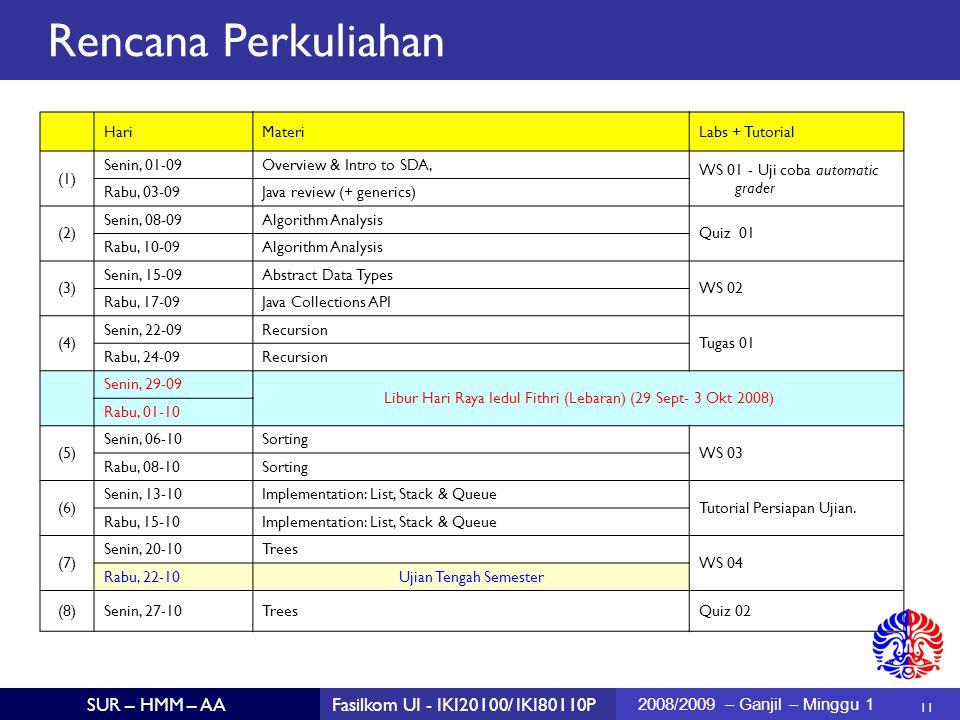 11 SUR – HMM – AAFasilkom UI - IKI20100/ IKI80110P 2008/2009 – Ganjil – Minggu 1 Rencana Perkuliahan HariMateriLabs + Tutorial (1) Senin, 01-09Overvie