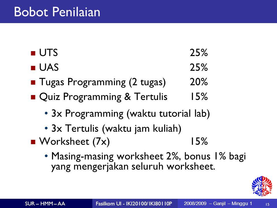 15 SUR – HMM – AAFasilkom UI - IKI20100/ IKI80110P 2008/2009 – Ganjil – Minggu 1 Bobot Penilaian UTS25% UAS25% Tugas Programming (2 tugas)20% Quiz Programming & Tertulis15% 3x Programming (waktu tutorial lab)  3x Tertulis (waktu jam kuliah)  Worksheet (7x)15% Masing-masing worksheet 2%, bonus 1% bagi yang mengerjakan seluruh worksheet.