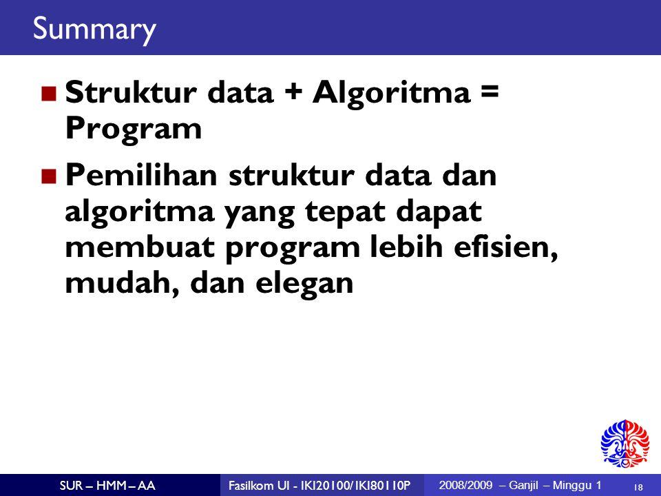 18 SUR – HMM – AAFasilkom UI - IKI20100/ IKI80110P 2008/2009 – Ganjil – Minggu 1 Summary Struktur data + Algoritma = Program Pemilihan struktur data dan algoritma yang tepat dapat membuat program lebih efisien, mudah, dan elegan