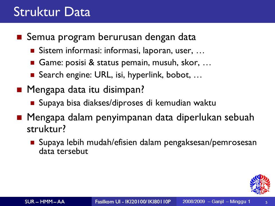 5 SUR – HMM – AAFasilkom UI - IKI20100/ IKI80110P 2008/2009 – Ganjil – Minggu 1 Struktur Data Semua program berurusan dengan data Sistem informasi: in