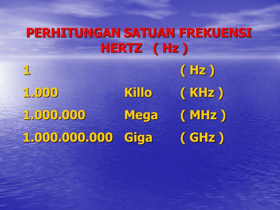 PERHITUNGAN SATUAN FREKUENSI HERTZ ( Hz ) 1( Hz ) 1.000Killo( KHz ) 1.000.000Mega( MHz ) 1.000.000.000Giga( GHz )