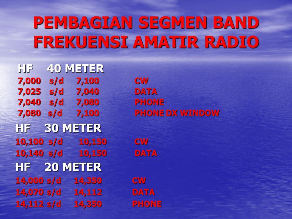 PEMBAGIAN SEGMEN BAND FREKUENSI AMATIR RADIO HF40 METER 7,000 s/d7,100CW 7,025 s/d7,040DATA 7,040 s/d7,080PHONE 7,080 s/d7,100PHONE DX WINDOW HF30 MET