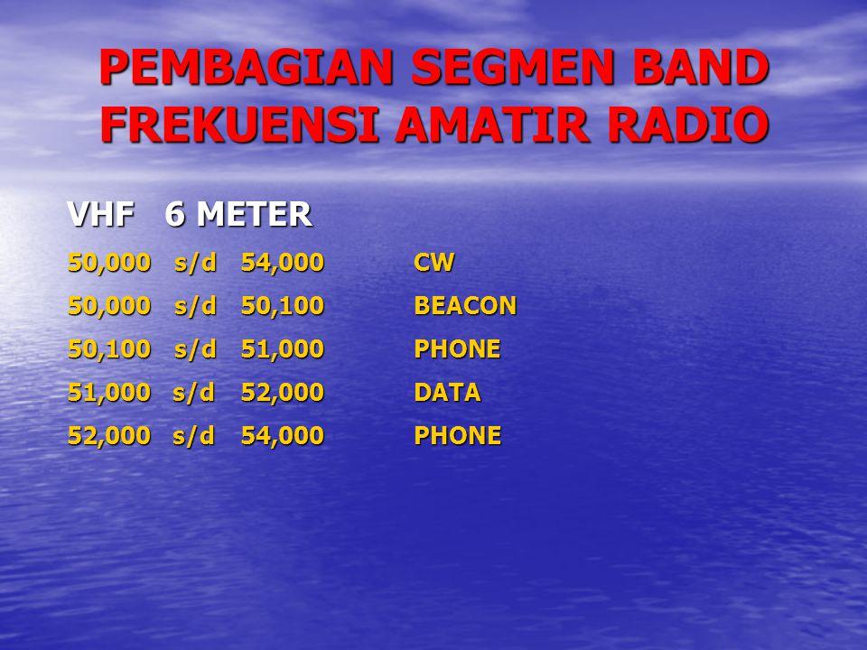 PEMBAGIAN SEGMEN BAND FREKUENSI AMATIR RADIO VHF 6 METER 50,000 s/d54,000CW 50,000 s/d50,100BEACON 50,100 s/d51,000PHONE 51,000 s/d52,000DATA 52,000 s