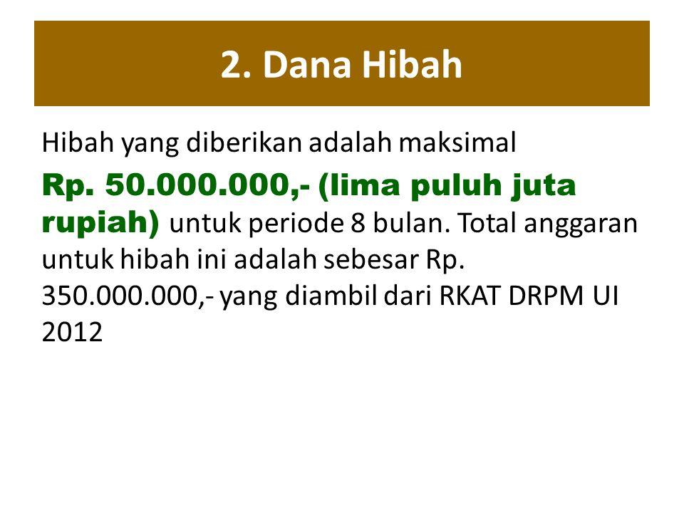 2. Dana Hibah Hibah yang diberikan adalah maksimal Rp. 50.000.000,- (lima puluh juta rupiah) untuk periode 8 bulan. Total anggaran untuk hibah ini ada