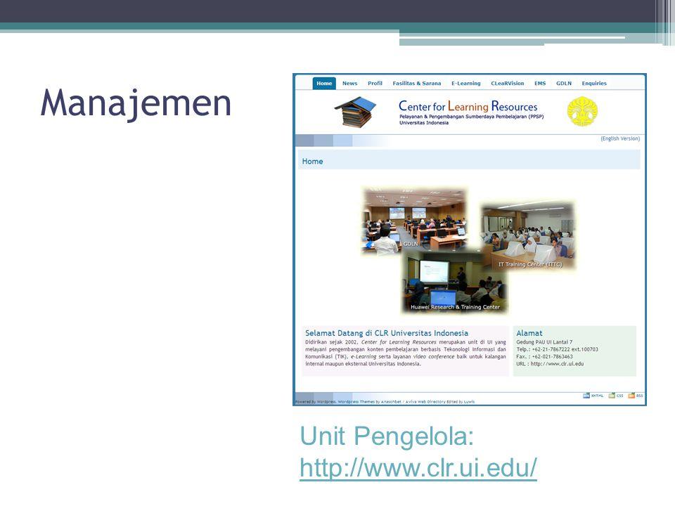 Manajemen Unit Pengelola: http://www.clr.ui.edu/