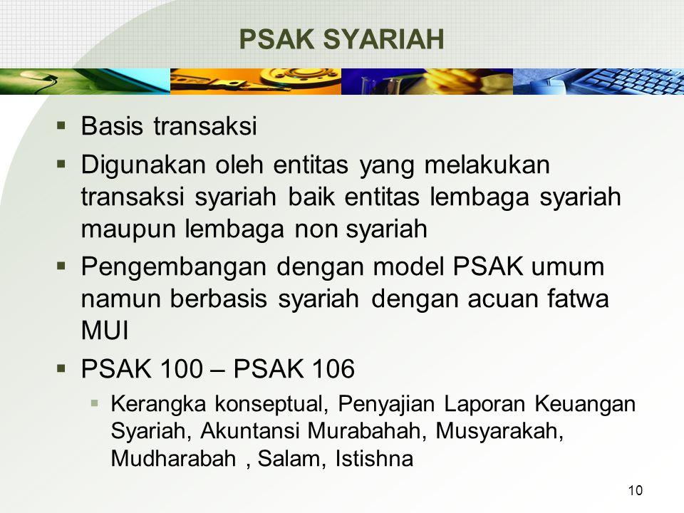 PSAK SYARIAH  Basis transaksi  Digunakan oleh entitas yang melakukan transaksi syariah baik entitas lembaga syariah maupun lembaga non syariah  Pengembangan dengan model PSAK umum namun berbasis syariah dengan acuan fatwa MUI  PSAK 100 – PSAK 106  Kerangka konseptual, Penyajian Laporan Keuangan Syariah, Akuntansi Murabahah, Musyarakah, Mudharabah, Salam, Istishna 10