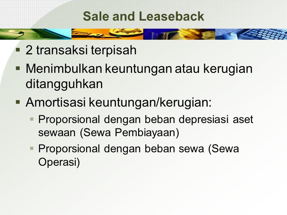 Sale and Leaseback  2 transaksi terpisah  Menimbulkan keuntungan atau kerugian ditangguhkan  Amortisasi keuntungan/kerugian:  Proporsional dengan beban depresiasi aset sewaan (Sewa Pembiayaan)  Proporsional dengan beban sewa (Sewa Operasi)