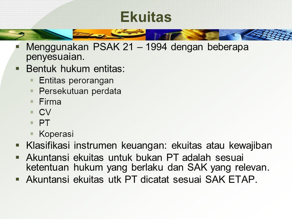 Ekuitas  Menggunakan PSAK 21 – 1994 dengan beberapa penyesuaian.  Bentuk hukum entitas:  Entitas perorangan  Persekutuan perdata  Firma  CV  PT