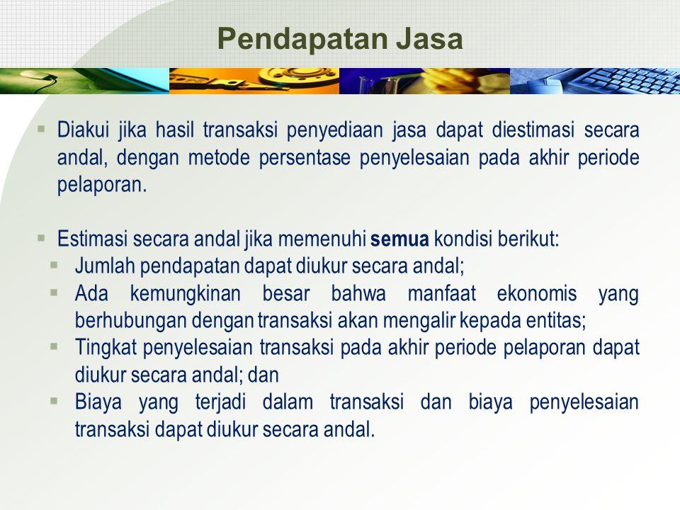 Pendapatan Jasa  Diakui jika hasil transaksi penyediaan jasa dapat diestimasi secara andal, dengan metode persentase penyelesaian pada akhir periode pelaporan.