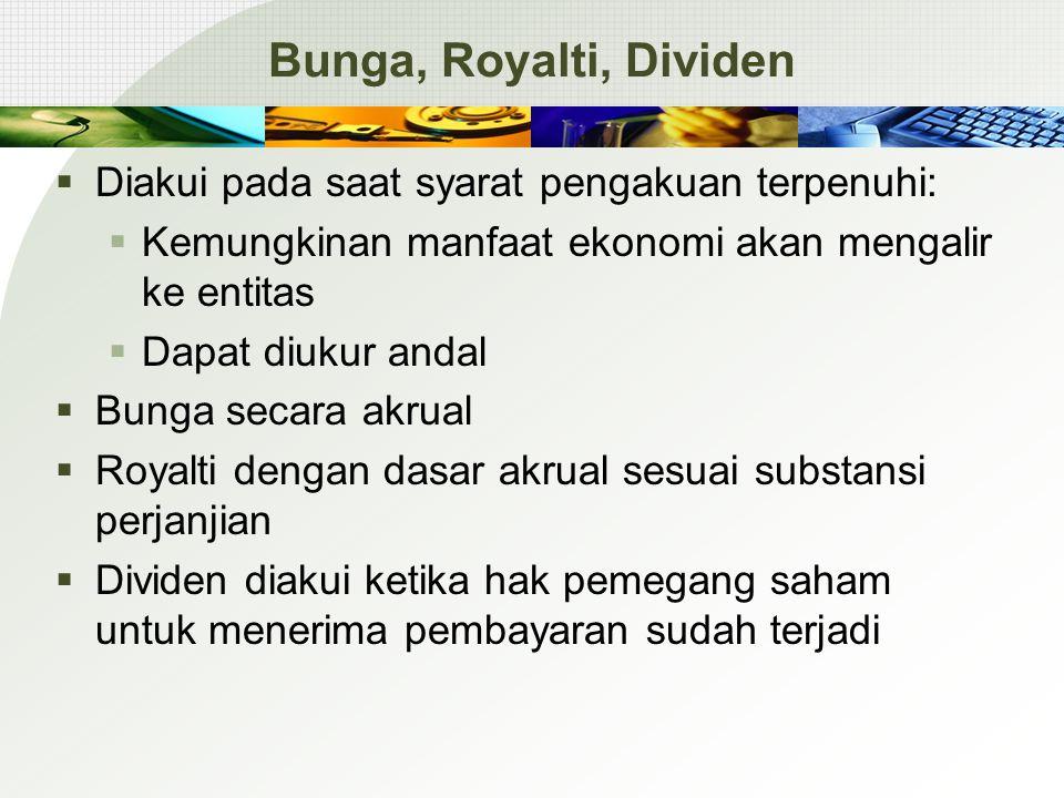 Bunga, Royalti, Dividen  Diakui pada saat syarat pengakuan terpenuhi:  Kemungkinan manfaat ekonomi akan mengalir ke entitas  Dapat diukur andal  B