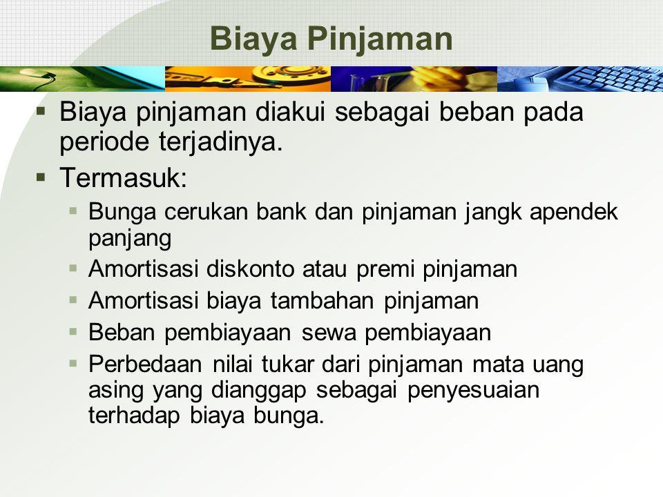 Biaya Pinjaman  Biaya pinjaman diakui sebagai beban pada periode terjadinya.  Termasuk:  Bunga cerukan bank dan pinjaman jangk apendek panjang  Am