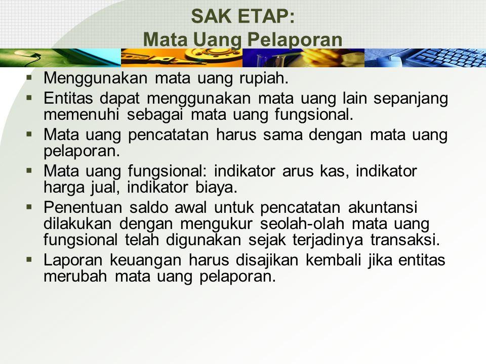 SAK ETAP: Mata Uang Pelaporan  Menggunakan mata uang rupiah.  Entitas dapat menggunakan mata uang lain sepanjang memenuhi sebagai mata uang fungsion