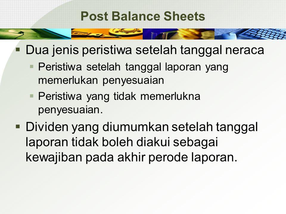Post Balance Sheets  Dua jenis peristiwa setelah tanggal neraca  Peristiwa setelah tanggal laporan yang memerlukan penyesuaian  Peristiwa yang tidak memerlukna penyesuaian.