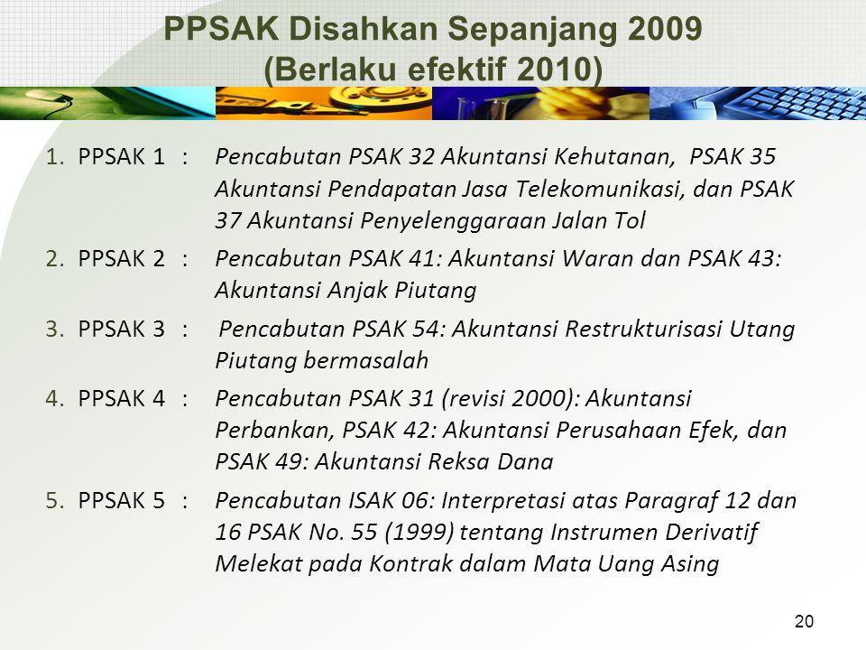 PPSAK Disahkan Sepanjang 2009 (Berlaku efektif 2010) 1.PPSAK 1 : Pencabutan PSAK 32 Akuntansi Kehutanan, PSAK 35 Akuntansi Pendapatan Jasa Telekomunik