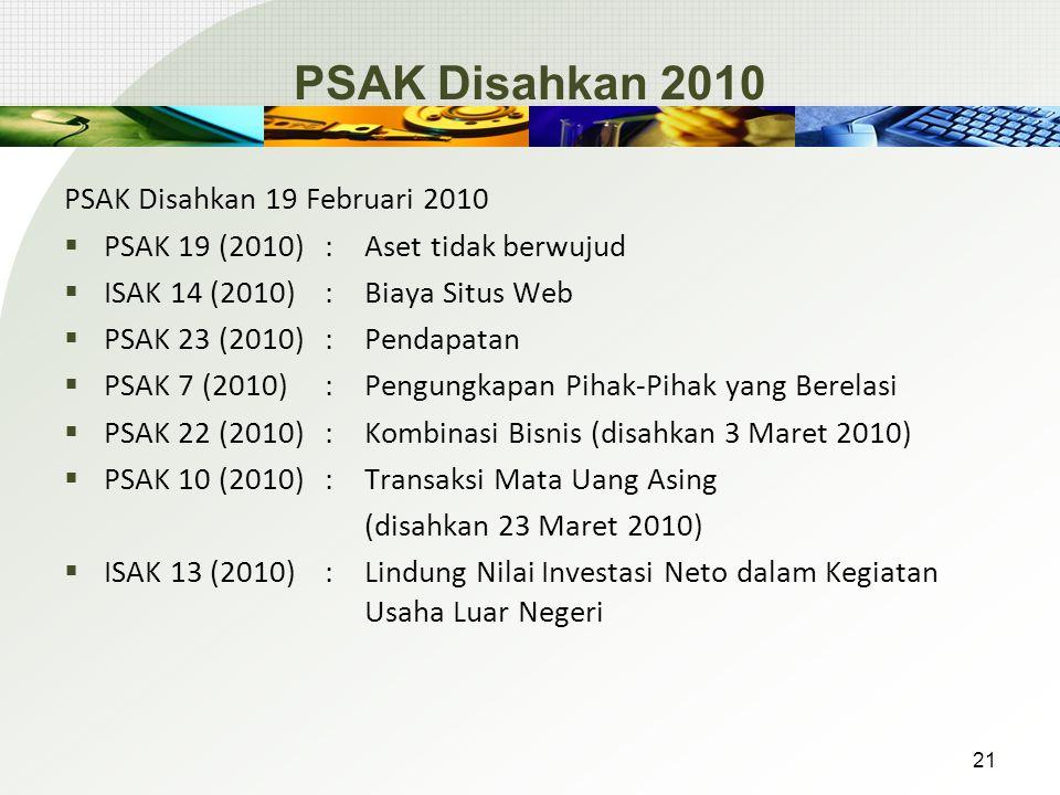 PSAK Disahkan 2010 PSAK Disahkan 19 Februari 2010  PSAK 19 (2010): Aset tidak berwujud  ISAK 14 (2010): Biaya Situs Web  PSAK 23 (2010): Pendapatan  PSAK 7 (2010): Pengungkapan Pihak-Pihak yang Berelasi  PSAK 22 (2010): Kombinasi Bisnis (disahkan 3 Maret 2010)  PSAK 10 (2010): Transaksi Mata Uang Asing (disahkan 23 Maret 2010)  ISAK 13 (2010) : Lindung Nilai Investasi Neto dalam Kegiatan Usaha Luar Negeri 21