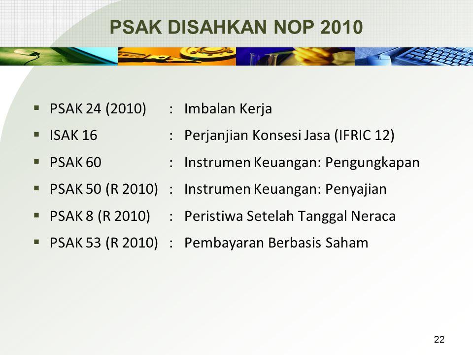 PSAK DISAHKAN NOP 2010  PSAK 24 (2010):Imbalan Kerja  ISAK 16 : Perjanjian Konsesi Jasa (IFRIC 12)  PSAK 60 : Instrumen Keuangan: Pengungkapan  PSAK 50 (R 2010): Instrumen Keuangan: Penyajian  PSAK 8 (R 2010): Peristiwa Setelah Tanggal Neraca  PSAK 53 (R 2010): Pembayaran Berbasis Saham 22