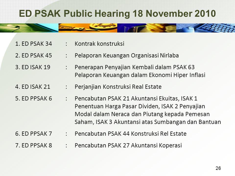 ED PSAK Public Hearing 18 November 2010 1.ED PSAK 34: Kontrak konstruksi 2.