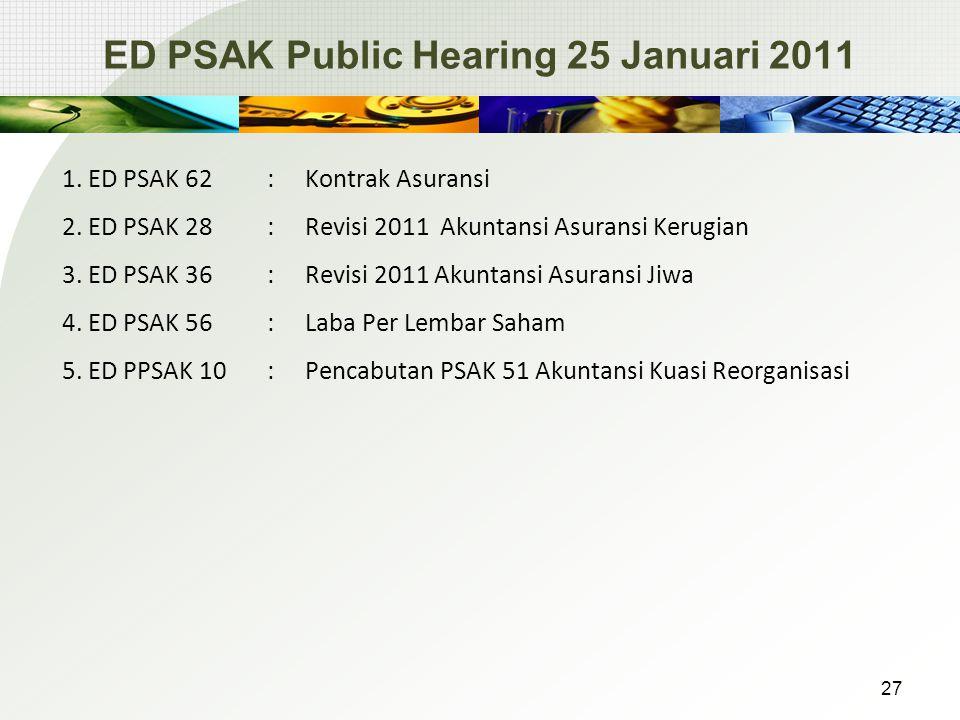 ED PSAK Public Hearing 25 Januari 2011 1.ED PSAK 62: Kontrak Asuransi 2.